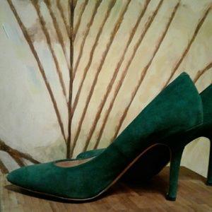Emerald Green Suede Heels